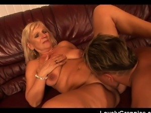Old slut gets fucked hard by a younger guy! She swallows it eagerly before...