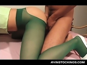 Sexy jap chick in pantyhose fucked in nasty threesome