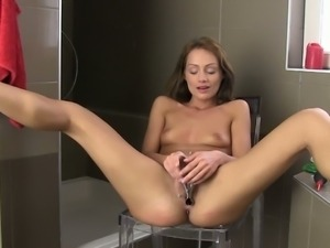 Hot brunette beauty masturbating
