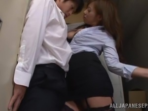 japanese footjob with fishnet stockings