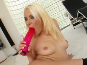 Blonde in sexy lingerie gets off with toys