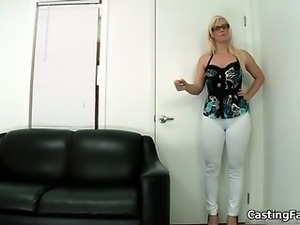 Sexy blonde babe gets horny stripping