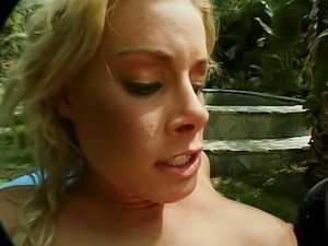 Nicole milks her husband in the garden