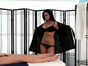 Gorgeous brunette uses vibrator to please beautiful lesbian client