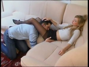 Cute pantyhose girl footjob 2