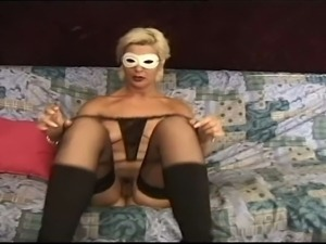 Blonde mature with nice natural tits in solo action with dildo