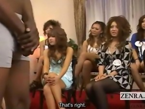 Subtitled group CFNM Japanese tan gyaru and black model