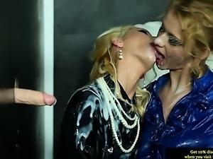 Euro lesbians at bukkake gloryhole getting wet
