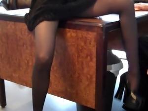 Sexy nylon footjob
