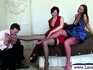 Euro milf in foot fetish video with babe