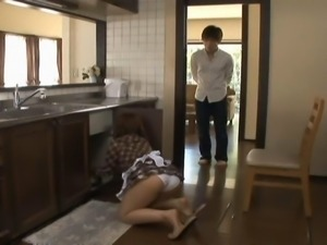 Hot Asian housewife Nao Ayukawa suckles on a dildo