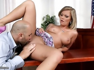 Blonde Sunny Diamond knows no limits when it comes to blowing her fuck buddys...