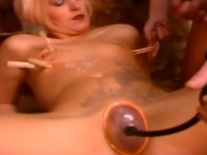 Two stunning femdoms punish an older man and play with his big hard cock