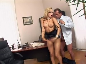 Innocent looking young nerdy blonde secretary Aleska Diamond with long legs...
