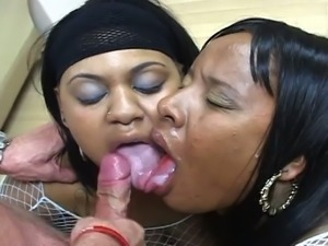Nasty black sluts  share jizz
