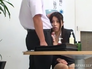 bored at work she receives attention