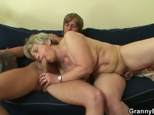 Bored granny gets drilled by a younger stud