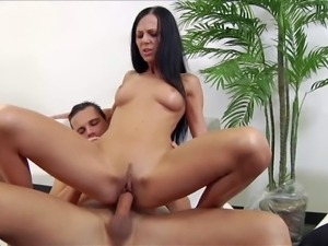 Young black haired Brenda Black with firm ass and nice natural boobs in high...