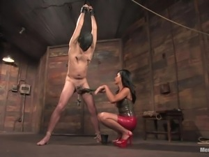 sensual hispanic mistress tortures a man