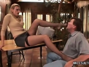 Stocking MILF Gives Foot Job