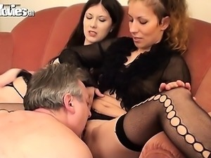 Two horny hotties fuck an older guy