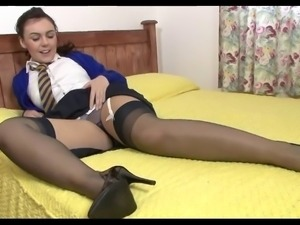 School Girl In Stockings And Heels