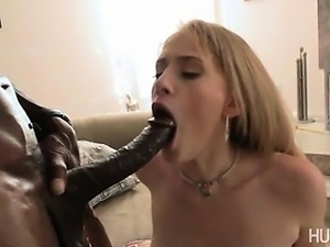 Blonde slut fucked by big black dick