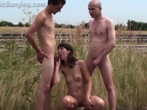 Gorgeous young girl threesome orgy naked in public group action Part 1