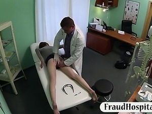 Tight red haired babe pussy creampied with fraud doctor