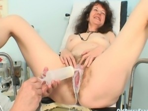 Extremely hairy old pussy examination at the gyno clinic