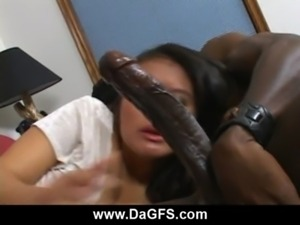 Fiery asian stunner sucking freaky monster black cock free