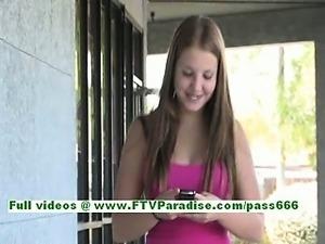 Jacky amazing redhead teenage posing naked and flashing in public