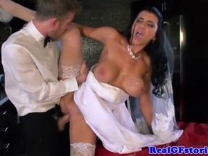 Big titted milf housewife bride facial in this hd video