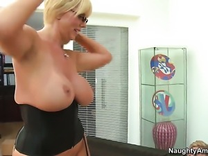 Karen Fisher with giant boobs is in heaven fucking with hard cocked fuck...