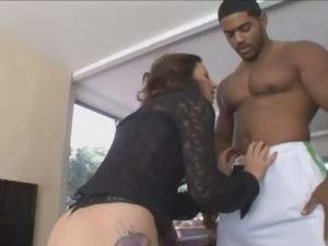 Interracial fucking action with busty white milf