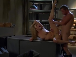 long haired young and slim blonde Bailey Blue with long sexy legs and nice...
