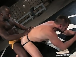 Race and Park flip flop fuck all over the gym wrestling mat