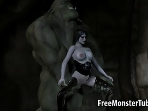 Pale 3D brunette babe getting fucked hard by an orc