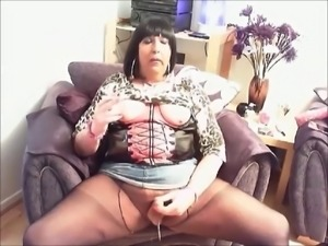 Chrissie shots a big load from her sissy clit