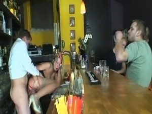 Flower seller blonde babe gets her cunt fucked.