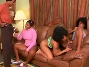 Nubian babe blows and her friend fucked on the couch