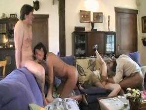 Family orgy in a big house