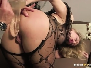 big assed babe takes a big dildo and cock