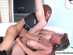 Nubian shemale fucking his ass deeply
