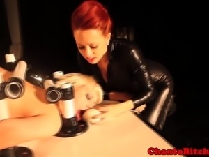 Redhead bdsm lezdom bondage punishes sub while she is tied down