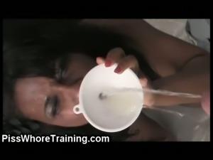 Kinky brunette slut drinks her own piss
