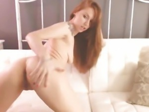 Redhead Hottie Strips and Masturbates