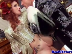 Real gf in costume sucks and fucks cock