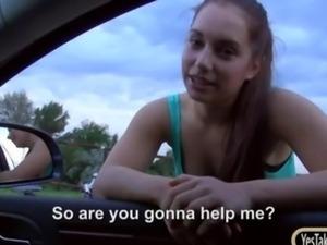 Amateur brunette teen girl Jennifer Dark fucked in public