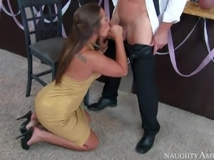 Dani Daniels bares her nice tits and her sexy ass before she takes dudes fat...